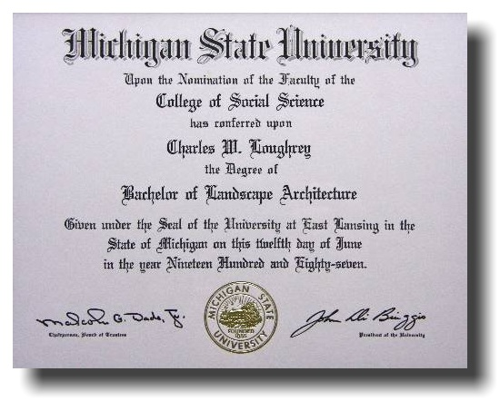 charles loughrey designmichigan state university bachelor of landscape architecture degree 1987